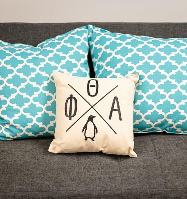 pillow gifts. penguin shoppe gifts - canvas criss cross pillow